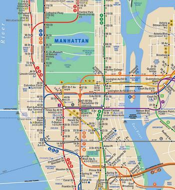 Mapa do metrô de Nova York. Para baixar o mapa completo em pdf: http://web.mta.info/nyct/maps/subwaymap.pdf